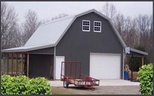 Steel Buildings Barn Type with entry door roll up door and windows.