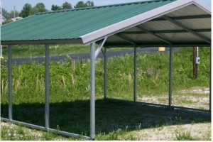 Steel Buildings A Frame Carport with top covered and open all around