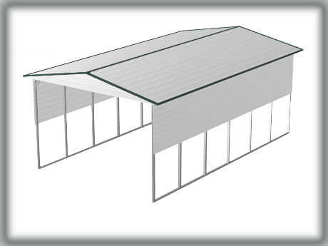 Steel Building Carport Type A-Frame Style open ends half covered sides.