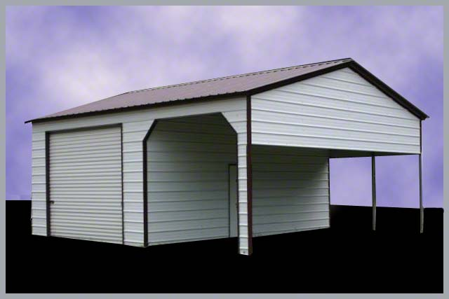Steel buildings combo port and for Carport shop combo