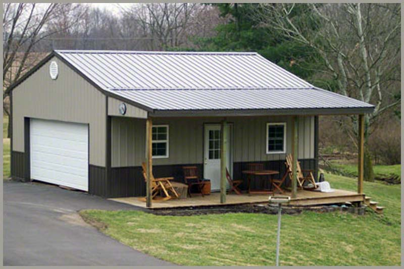 Steel buildings garage porch for Metal barn pictures